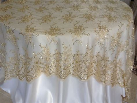 chagne lace overlay wedding decor linens and beyond