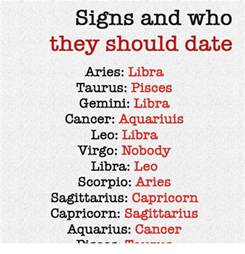 signs and who they should date aries libra taurus pisces