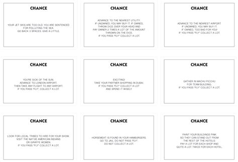 Chance Cards Monopoly Template by Bestioles Monopoly What A Touristic World 2013