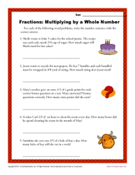 Multiplying Fractions By Whole Numbers Worksheet by Multiplying By A Whole Number Fractions Worksheets