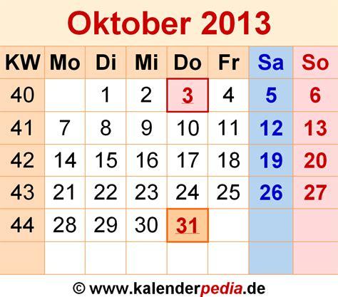 kalender oktober 2013 als excel vorlagen