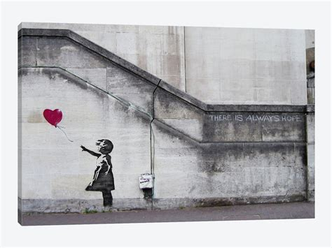 Horizontal Wall Decor There Is Always Hope Balloon Canvas Print By Banksy