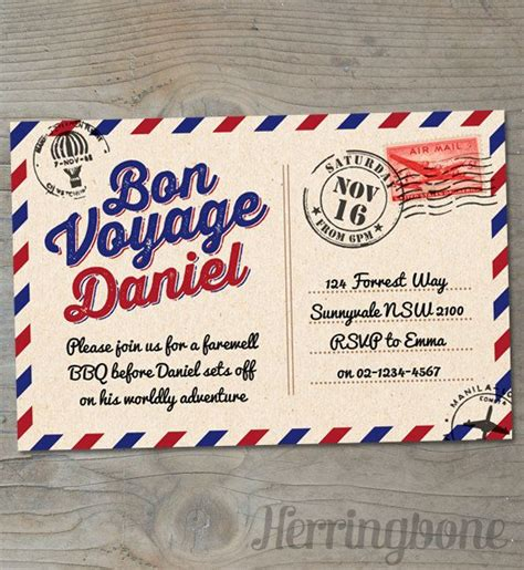 bon voyage farewell printable invitation voyage by and