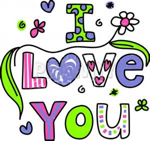 Love you decorative doodle cartoon text clipart prawny clipart