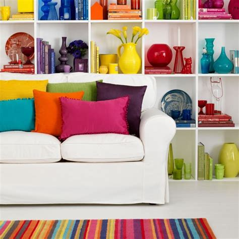 rainbow bright living room decorating with colour