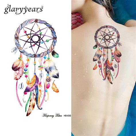 dream catcher tattoo with names in feathers aliexpress com buy 1 sheet dreamcatcher tattoo feather