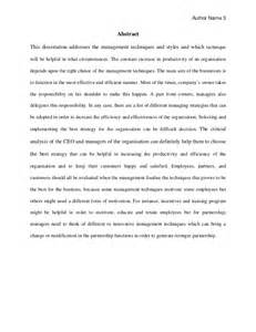 History Dissertation Examples Business Management Dissertation Sample For Mba Students