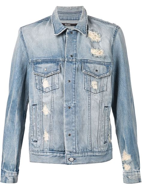 Distressed Denim lyst ksubi distressed denim jacket in blue for