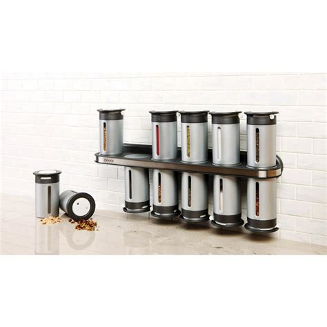 Zevro Spice Rack zevro zero gravity 12 canister wall mount magnetic spice rack in metallic gray kch 06100 the