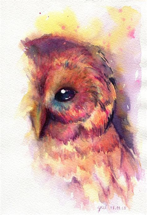 watercolor animal tattoo the owl original watercolor painting 7 5x11 inches