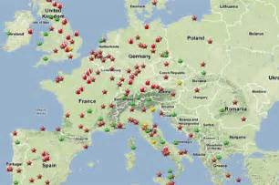map of the top travel destinations in europe