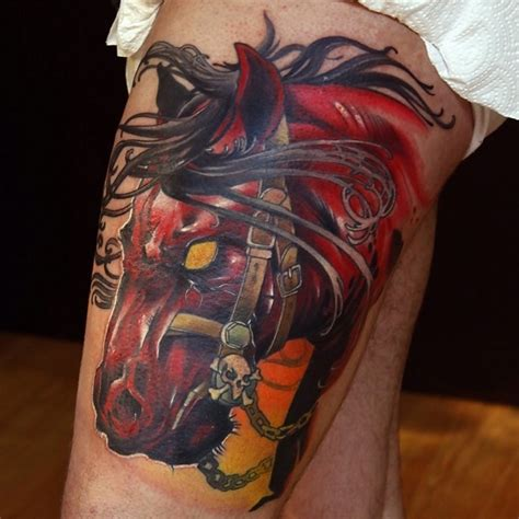 zombie tattoo on leg by graynd tattooimages biz colorful scary dark horse zombies tattoo on leg