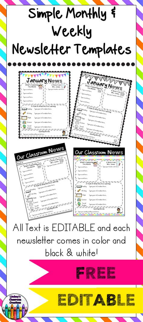 free monthly newsletter templates for teachers editable classroom newsletter templates color black