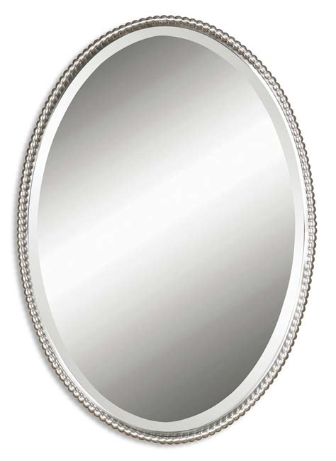 The Uttermost Company Mirror Uttermost Sherise Brushed Nickel Oval Mirror 01102 B