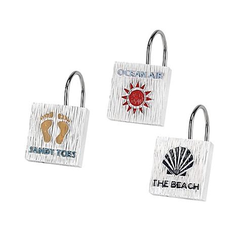 beach shower curtain hooks avanti beach words shower curtain hooks bed bath beyond