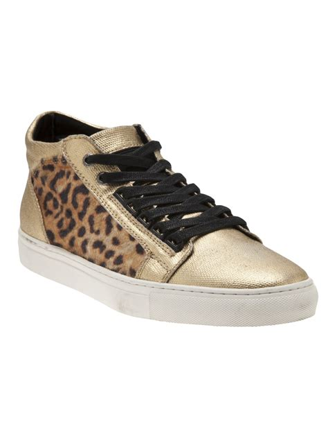 android homme shoes android homme leopard panel sneakers in gold for metallic lyst