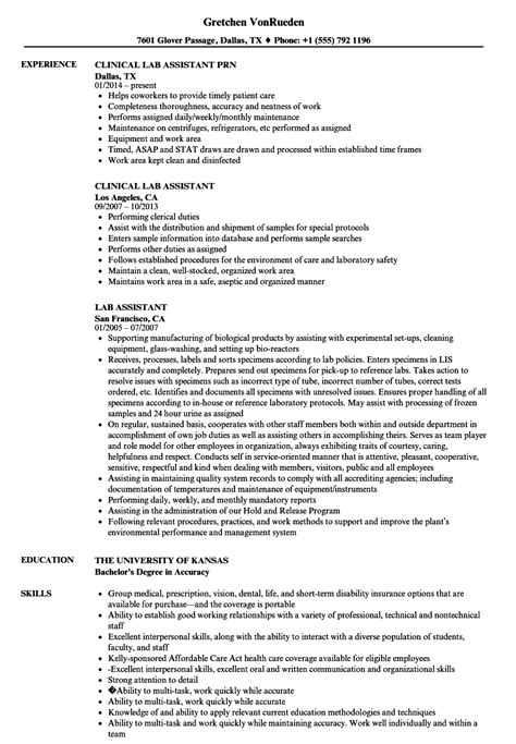 lab assistant resume templates lab assistant resume sles velvet
