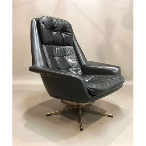 swivel leather armchair scandinavian swivel leather armchair 1950s design market