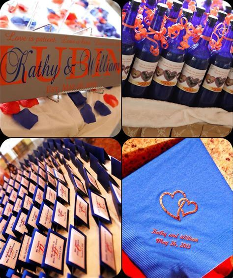 Sapphire blue / royal blue and coral themed wedding!   Our
