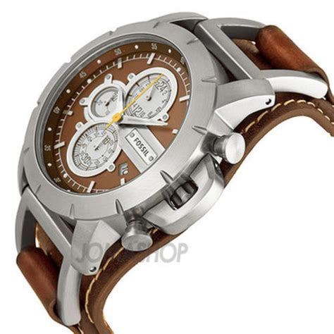 Men S Watches Fossil Chronograph Brown Leather Strap
