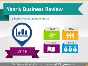 business review report template 22 icons 12 diagrams to boost yearly business presentation
