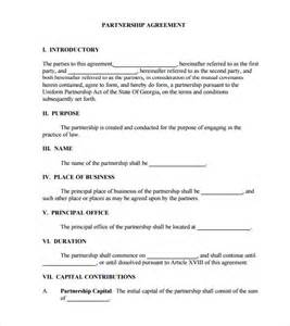 Formal Partnership Agreement Template business partnership agreement 8 free samples