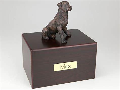rottweiler urn bronze look rottweiler cremation figurine urn w wood storage box