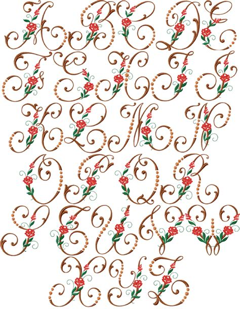 rose pattern font heirloom roses font machine embroidery designs 5x7 hoop ebay