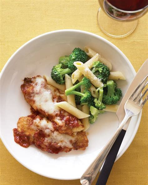 chicken or veal parmigiana recipe martha stewart chicken tenders parmesan with penne and broccoli recipe