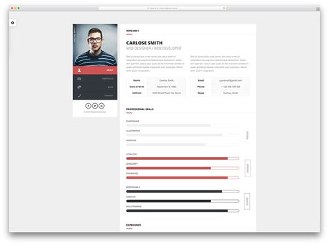 15 best html5 vcard and resume templates for your personal portfolio 2017 colorlib