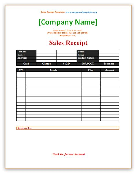 Sales Receipt Template Save Word Templates Purchase Receipt Template