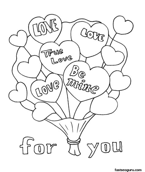 Printable Valentine Bouquet Coloring Page Printable Valentines Day Printable Coloring Pages