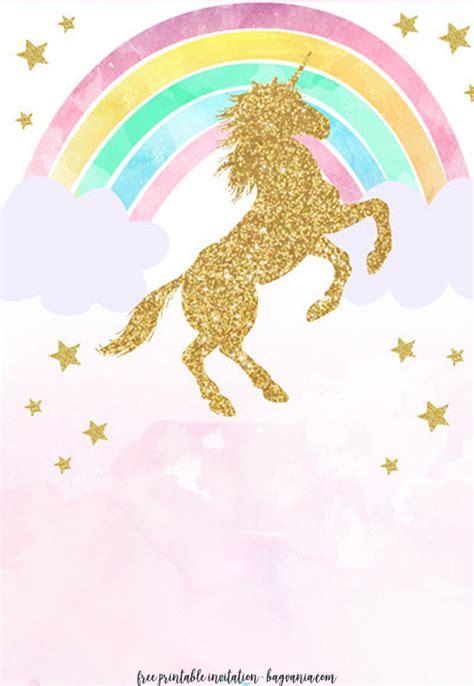 Free Printable Golden Unicorn Birthday Invitation Template Free Invitation Templates Drevio Unicorn Invitation Template Free