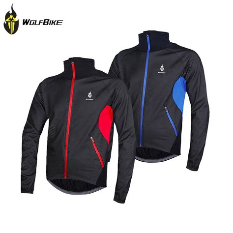 winter bicycle jacket wolfbike windproof fleece winter cycling jersey