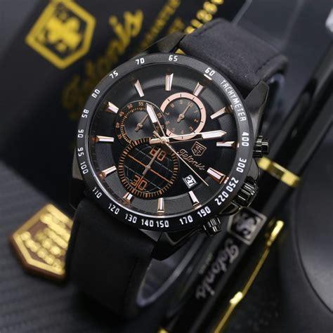jual jam tangan pria tetonis kulit ori chrono anti air