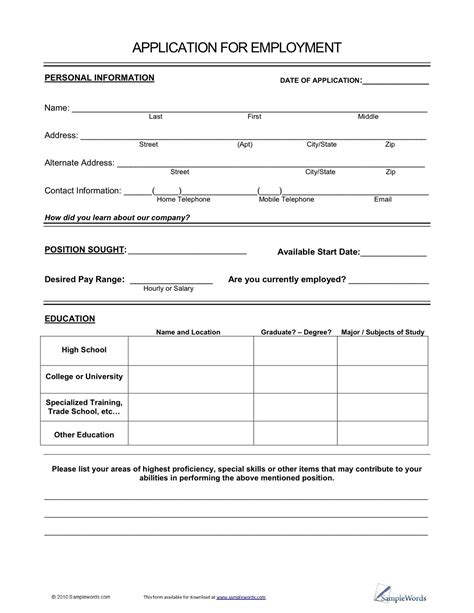 Caesars Printable Application Form
