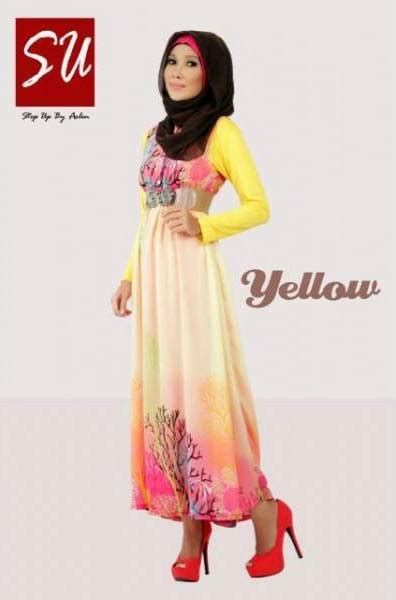 Gamis Rabbani Collection Su Aashka Yellow Baju Muslim Gamis Modern