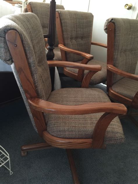 Rolling Dining Room Chairs by Letgo Set Of 4 Rolling Dining Room In Kernersville Nc