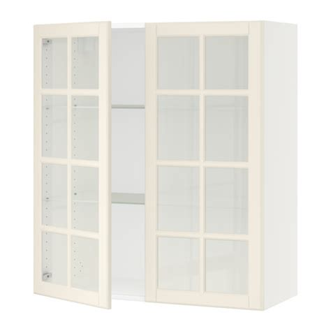 Sektion Wall Cabinet With 2 Glass Doors White Bodbyn White Cabinet With Glass Doors