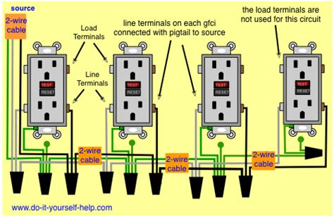 in line gfci receptacle wiring in circuit and schematic