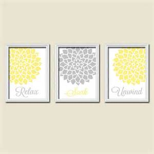 Yellow Grey Wall Decor Yellow Gray Bathroom Wall Art Canvas Or Prints By Trmdesign
