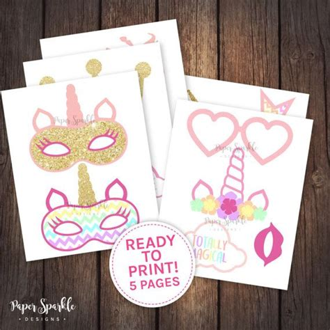 printable unicorn photo props 14 printable unicorn glitter effect party props including