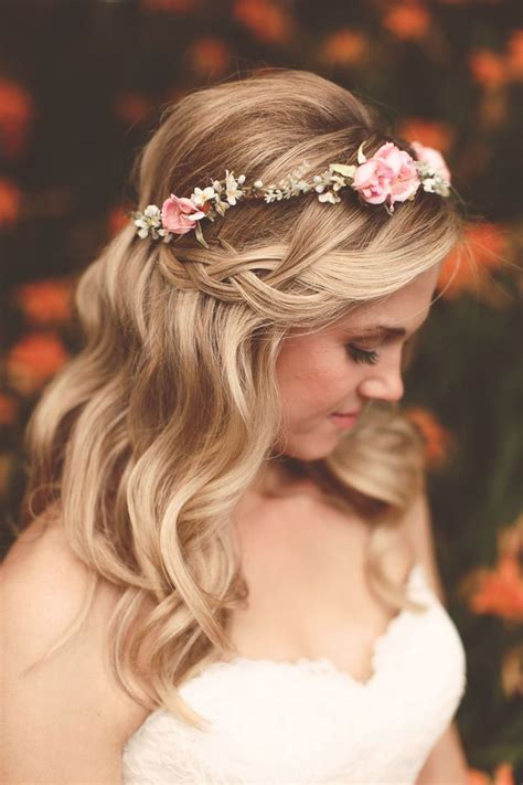 Braided Wedding Hairstyles With Tiara by Waterfall Braid For Wedding Hairstyles