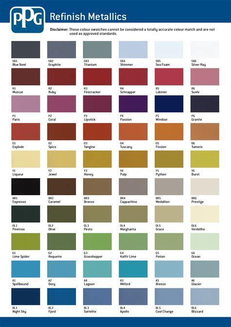 ppg color chart ppg colour charts