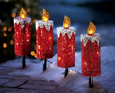 Set Of 4 Holiday Candle Outdoor Christmas Path Lights Outdoor Candle Lights