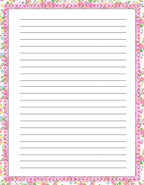 lined paper with plant border flowers free printable stationery for kids regular lined