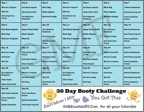 30 day buttlift challenge 30 day challenge mountaingirl fitness
