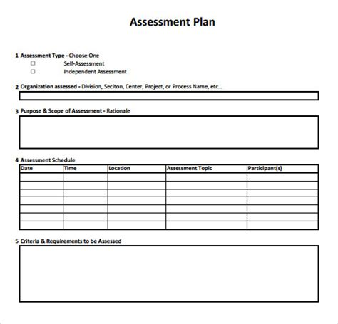 assessment plan template sle assessment 9 free sles exles format