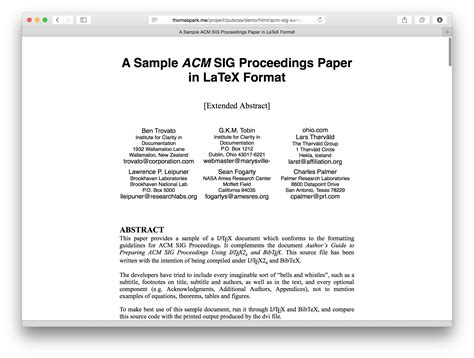 acm template pubcss formatting academic publications in html css