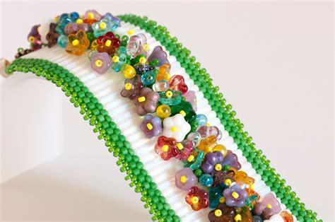 bugle bead seed bead bracelet peyote bracelet bugle bead bracelet in